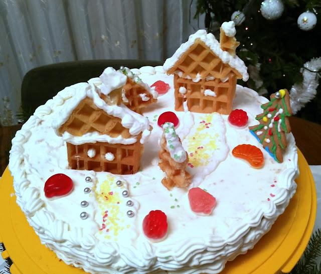 Торта снежни къщички - лесна но ефектна