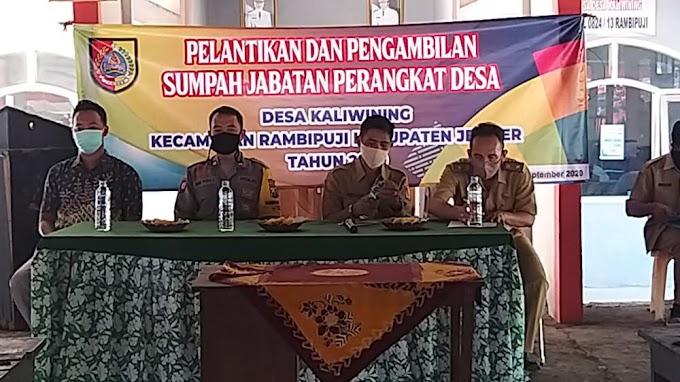 Kades Kaliwining Ambil Sumpah Jabatan  Empat  Perangkat Desa .