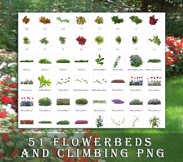 png 2d flowerbeds collection