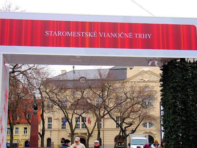 Staromestské vianočné trhy or Old Town Christmas Market in Bratislava, Slovakia.