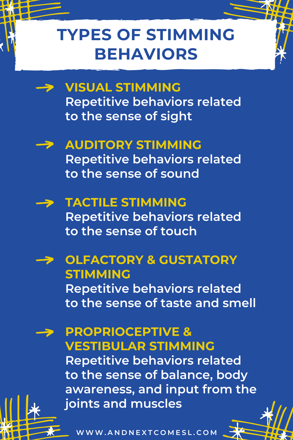 Types of stimming in autism