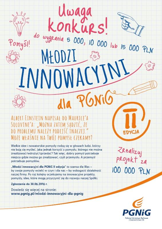 Młodzi Innowacyjni dla PGNiG 2016 - plakat