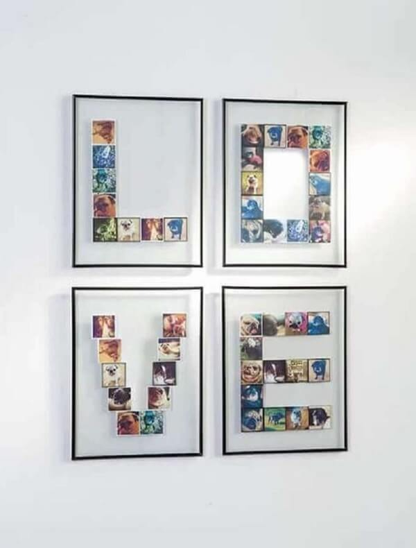 Photo frame composing the letter LOVE