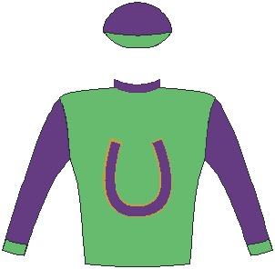 Jockey Silks / Colours of Mrs S Plattner - Grass green, indigo horseshoe, gold trim, indigo collar, sleeves and cap, grass green cuffs and peak