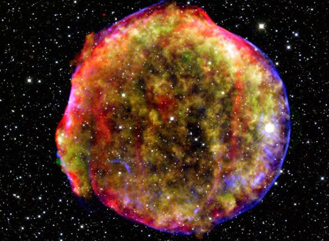 A supernova remnant as captured by NASA's Spitzer and Chandra space observatories and the Calar Alto observatory
