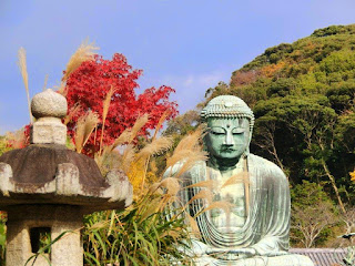 鎌倉大仏と紅葉