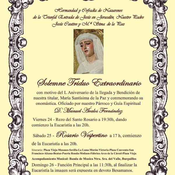 La Banda de Música de Nuestra Señora del Valle de Burguillos acompañará a la Virgen de la Paz de la Puebla de Cazalla en el Rosario Vespertino de su 50 Aniversario