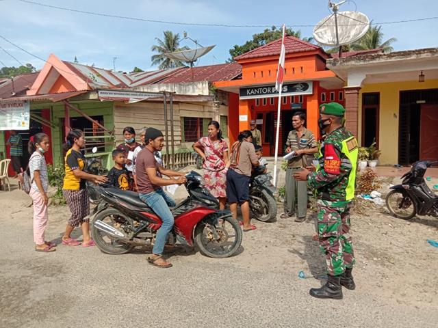 Melalui Koramil 18/Saran Padang Jajaran Kodim 0207/Simalungun Laksanakan Operasi Protokol Kesehatan