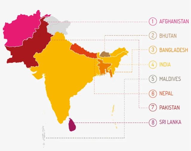 दक्षिण एशियाई देशों के नाम - dakshin asia in hindi दक्षिण एशिया के देश - दक्षिण एशिया क्या है