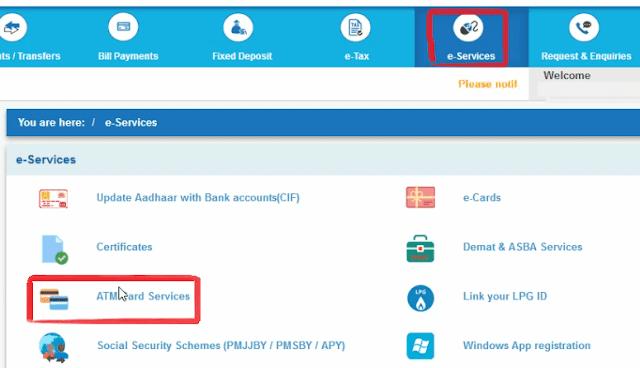 Go to e-Services > ATM Card Services