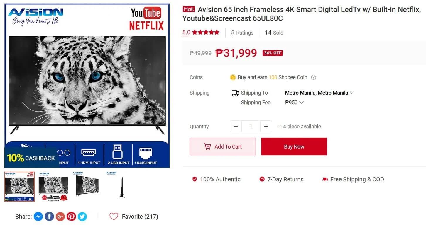 Avision 65-inch Frameless 4K Smart Digital LED TV