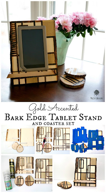 Wood Burned Bark Edge Slide Together Tablet Stand with Gold Accents Tutorial by Dana Tatar for Walnut Hollow