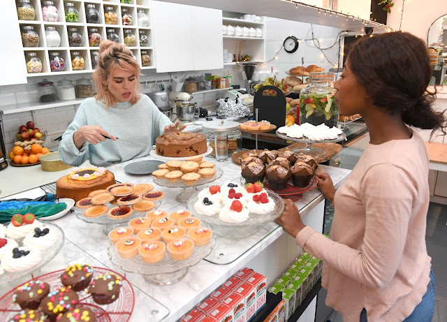 Billie Piper serves cakes at her local favourite shop, The Cake House in London, as she partners with Amex to encourage people to go out and 'Shop Small' this Saturday.