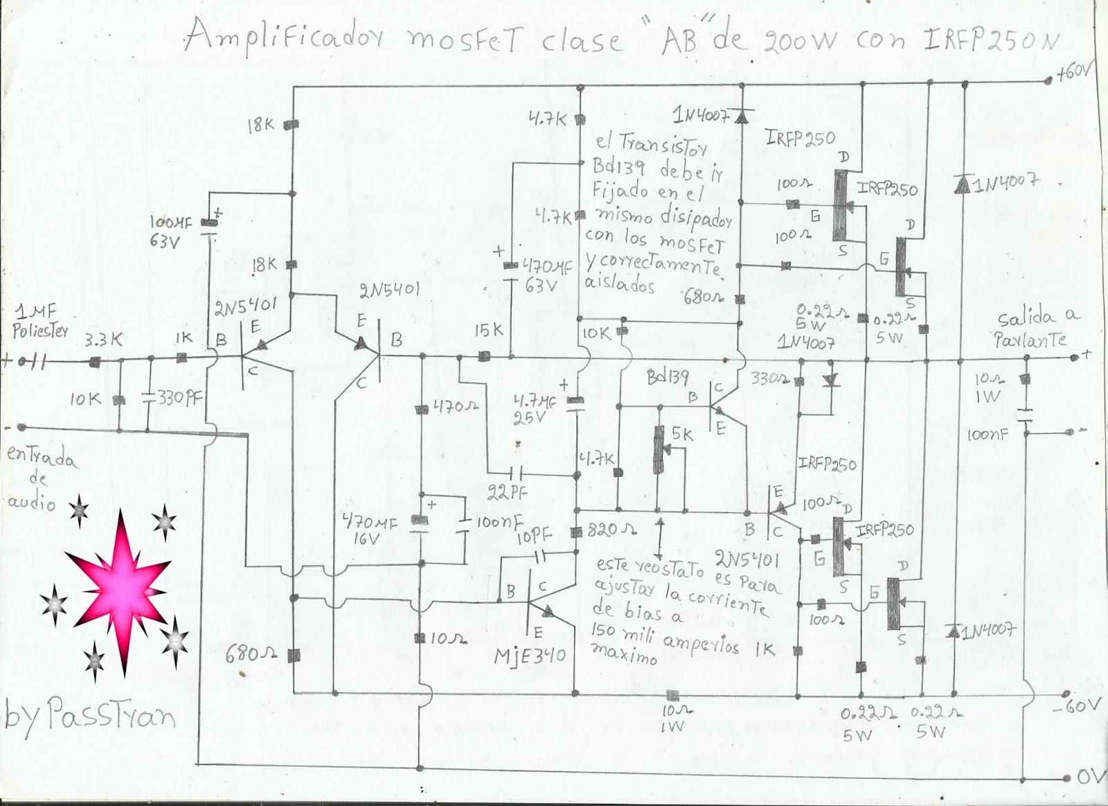 Ponyelectronica Amplificador Mosfet De 200w Clase Ab Con