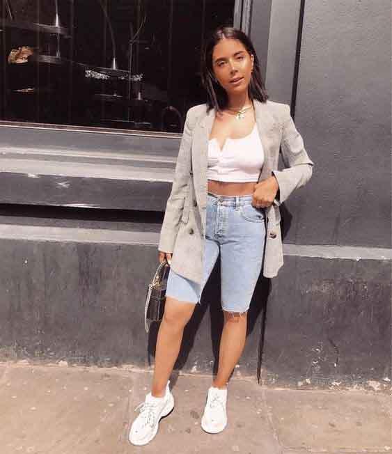 Bermuda jeans e blazer