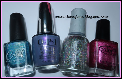 Colors by Llarowe: Turq'd; OPI: Love Or Lust-Er; Orly: Shine On Crazy Diamond; Color Club: Hot Like Lava