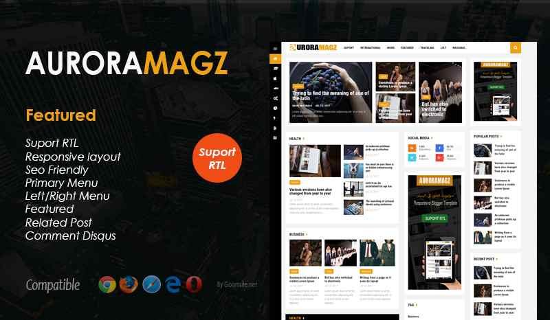 Auroramagz Responsive Blogger Template - Responsive Blogger Template