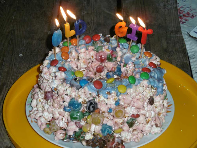 Homemade popcorn birthday cake. Photo by Loire Valley Time Travel.