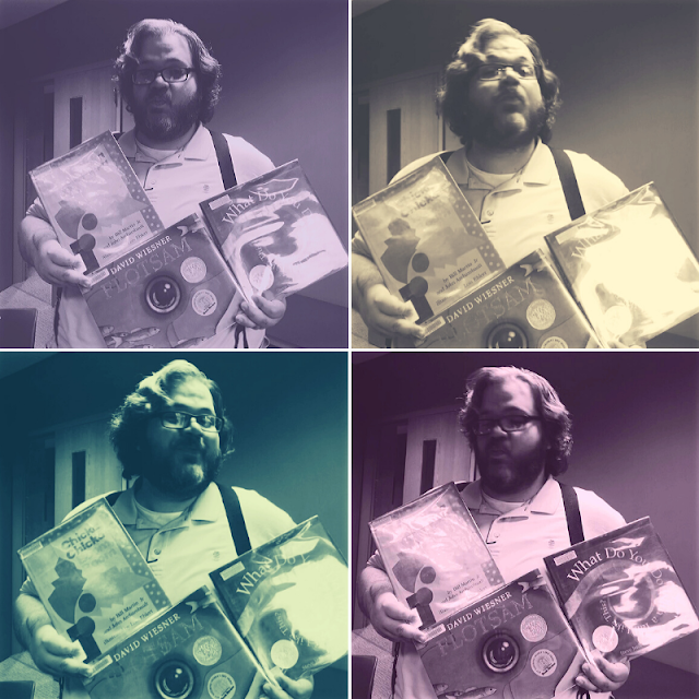 4 similar shots of man holding 3 picture books. Each has a heavily colored filter