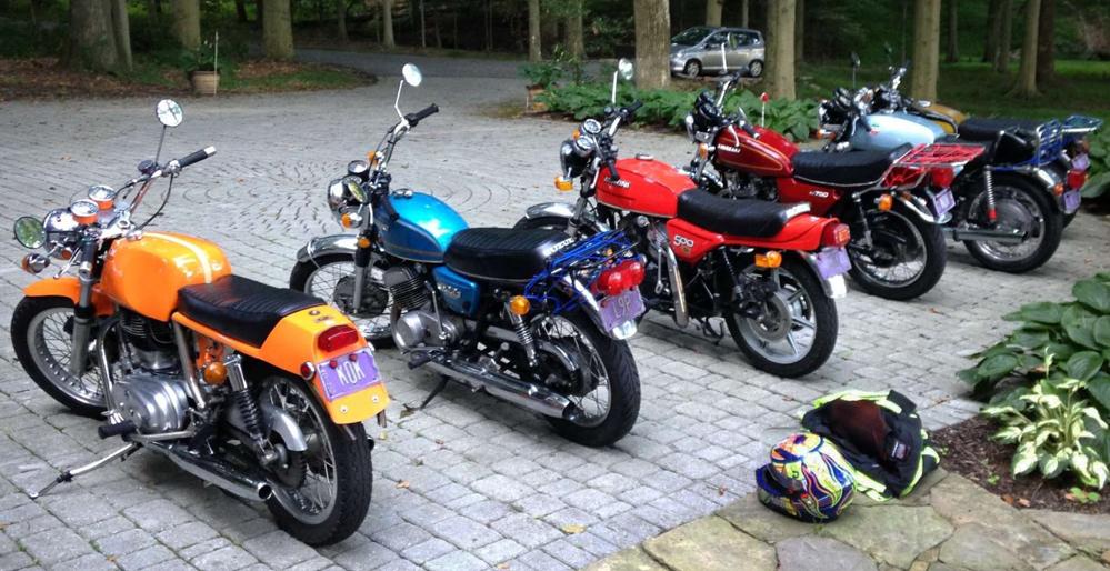 Line of vintage motorcycles.