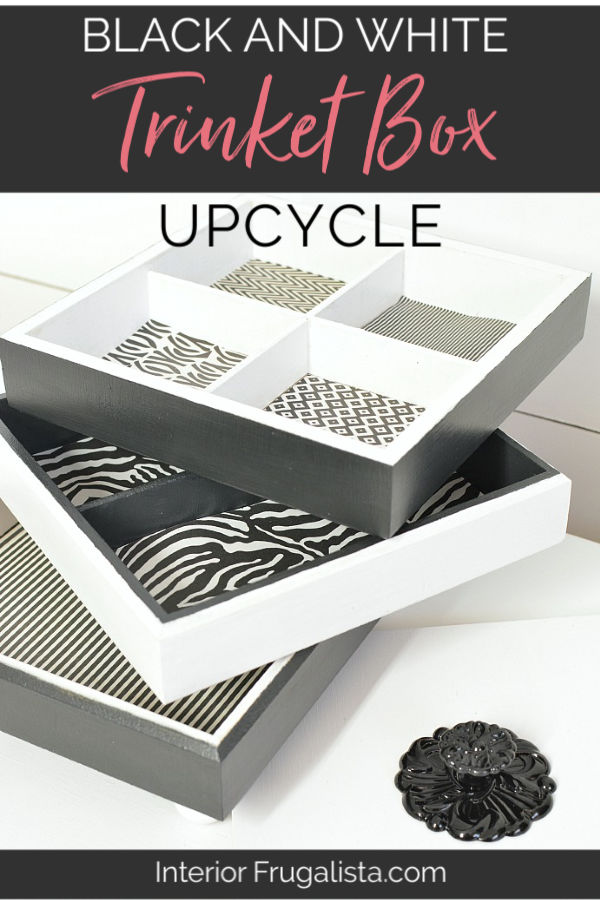 Black and White Trinket Box Upcycle