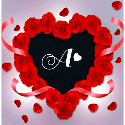 Stylish A to Z Red Heart Alphabets Letters Pics name Dpz