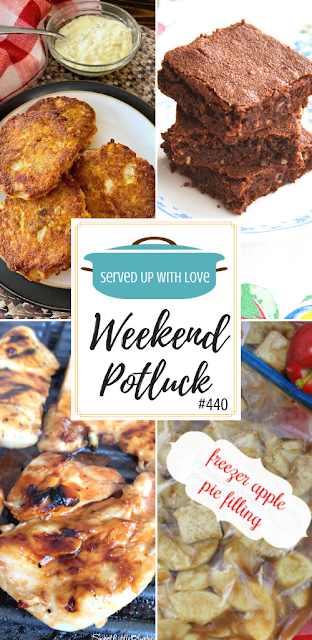 Weekend Potluck featured recipes include Oven-Fried Salmon Cake, Vintage Brownies, Freezer Apple Pie Filling, Italian BBQ Chicken Marinade (3 ingredient recipe) and so much more!