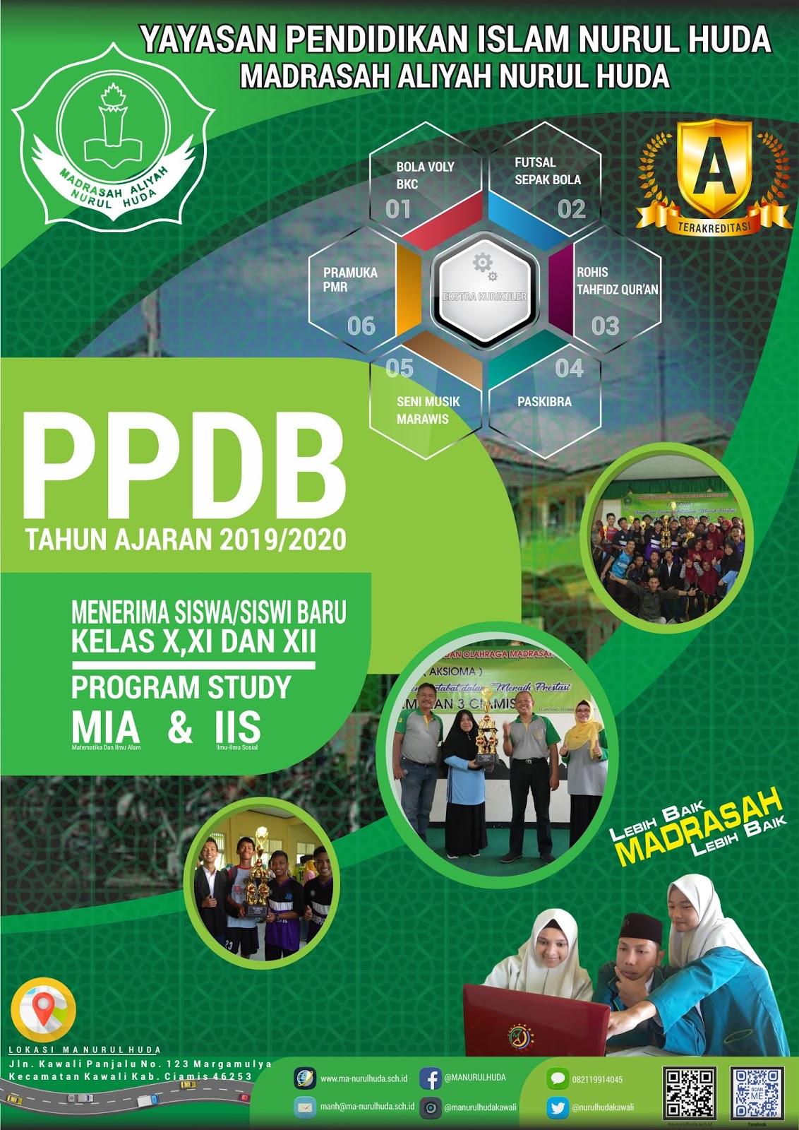 Brosur PPDB Madrasah Aliyah Nurul Huda Tahun Pelajaran 2019/2020