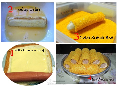 Resepi Roti Gulung Sosej Cheese