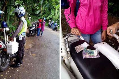 Polisi Razia Di Jalanan Kampung dan Terima Uang Recehan Dari Pengendara