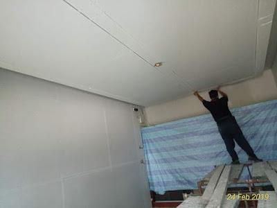 Pemasangan siling plaster dengan aksesori L-Box dan dome dalam pejabat