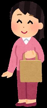紙袋を持つ人のイラスト(女性)