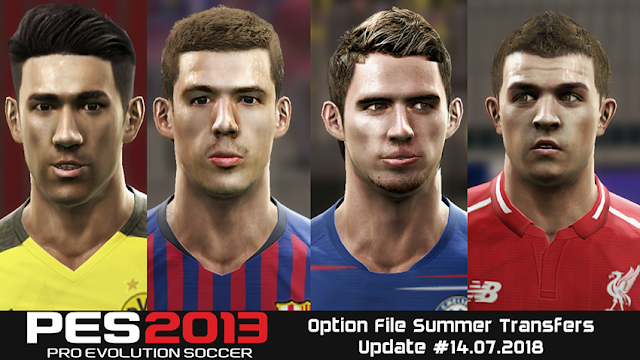 PES 2013 Option File Summer Transfers Update #14.07.2018