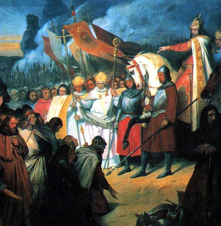 Carlos Magno receve a submissão de Viduquindo rei dos saxões, en Paderborn ano 785, Ary Scheffer (1795 - 1858), Museu do Palácio de Versailles