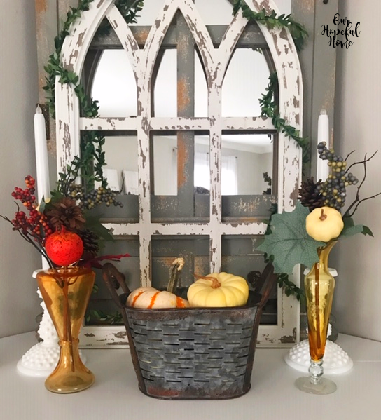 amber glass fall floral picks olive bucket pumpkins