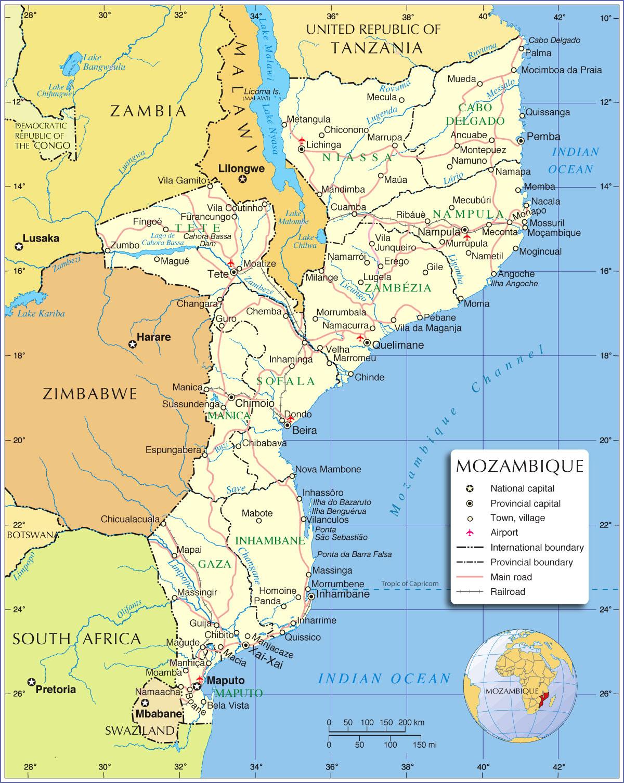 Moçambique | Mapas Geográficos de Moçambique