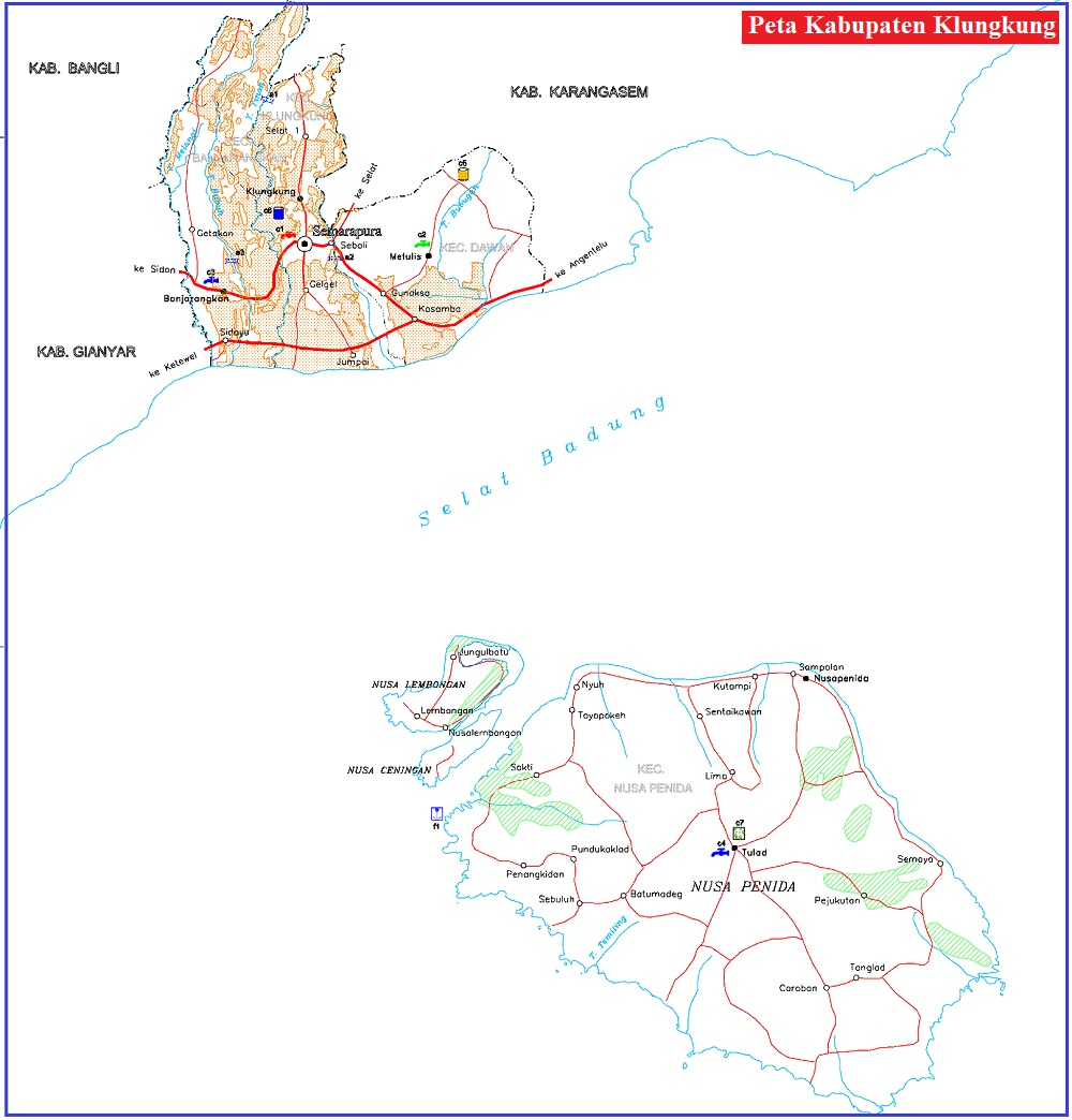 Peta Jalan Kabupaten Klungkung