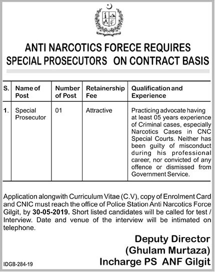 Special Prosecutor Jobs in Anti Narcotics Force 2019