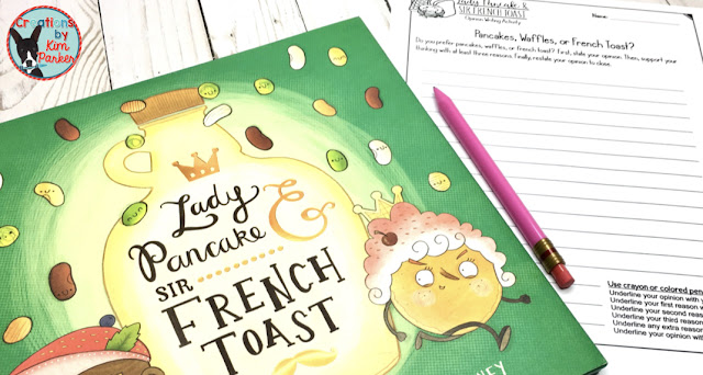 Lady Pancake and Sir French Toast read aloud recommendation with a bonus FREE opinion writing activity!