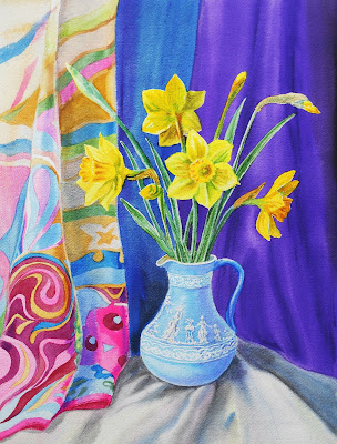 Still life with vase and daffodils painted in watercolor