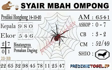 Syair Mbah Ompong HK Rabu 14 Oktober 2020