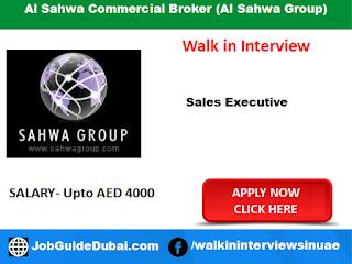 Walk in interview at al sahwa group for sales executive