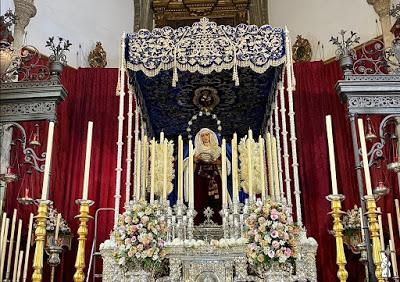 La Hiniesta de Sevilla subida a su paso de palio para el Septenario en su honor a celebrar en San Julián