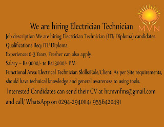 MVN Facility Management Services Hiring ITI/ Diploma Candidates For Electrician Technician