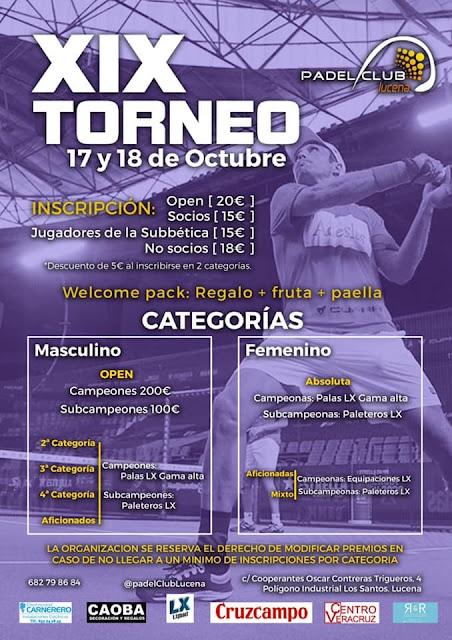 XIX Torneo Pádel Aniversario Pádel Club Lucena este 17 y 18 de Octubre 2020.