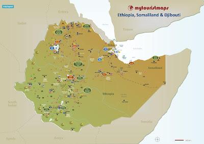 Ethiopia Somaliland Djibouti travel tourism tourist map