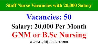 50 Staff Nurse Vacancies with 20000 Salary for GNM BSc Candidates