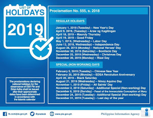 2019 Nationwide Holidays