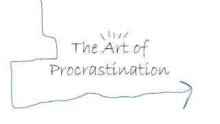 Procrastination text with whimsical background