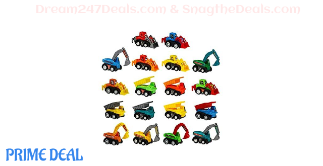 50% OFF 18 Pieces Construction Toy Machines Car Set Mini Pull Back